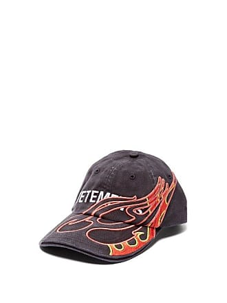 VETEMENTS Flame Embroidered Cotton Baseball Cap - Mens - Black