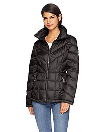 Kenneth Cole Womens mid Length Zip Puffer Jacket with Mixed Quilting, Black, L