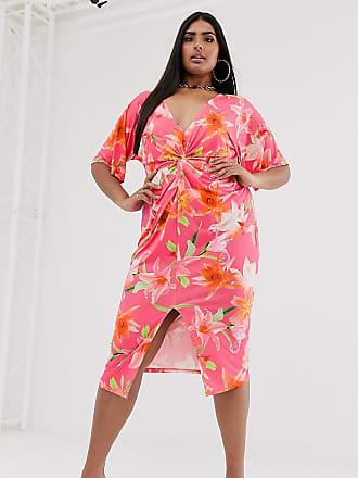 5461ee3ce2 Missguided Exclusivité - Robe mi-longue torsadée sur le devant à imprimé  fleuri - Rose