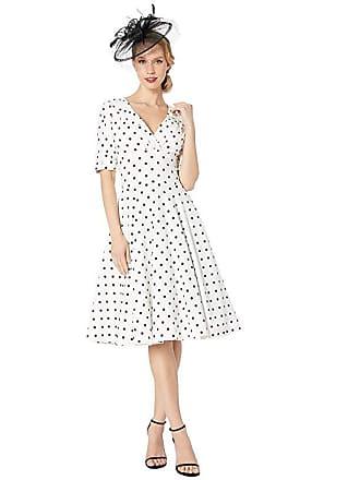 Unique Vintage 1950s Delores Swing Dress w/ Sleeves (White/Black Dot) Womens Dress