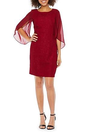 7c49b6c9 Alyx 3/4 Split Sheer Sleeve Glitter Sheath Dress, Womens, Wine, Size