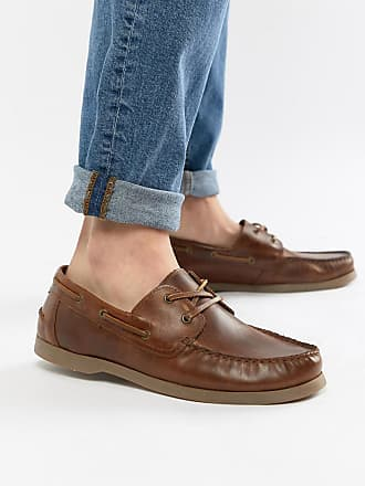 Asos boat shoes in tan leather with gum sole - Tan