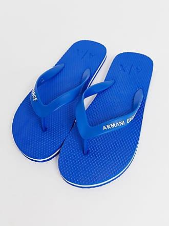 Armani logo flip flops in blue - Blue