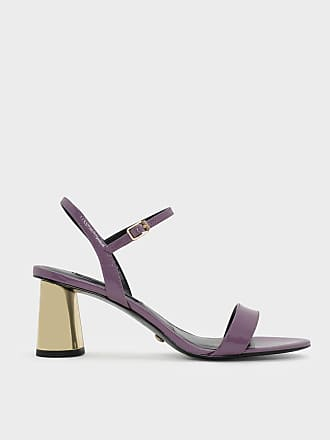 Charles & Keith Chrome Heel Leather Sandals