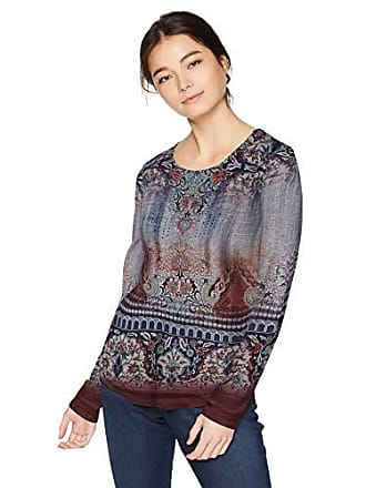 Oneworld Womens Petite Long Sleeve Printed Top with Bling, Artistic Garden/Heather Grey, PL