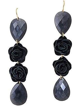 Tinna Jewelry Brinco Dourado Flores De Couro E Resina Preta