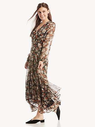 Astr Womens Ls Handkerchief Hem Midi Dress In Color: Black Multi Floral Size Medium From Sole Society