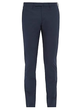 Incotex Tight Fit Cotton Blend Chino Trousers - Mens - Navy