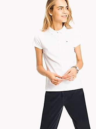 6055fd89 Tommy Hilfiger New Chiara Str Pq Polo SSPolo - Femme - Blanc (100 Classic  White