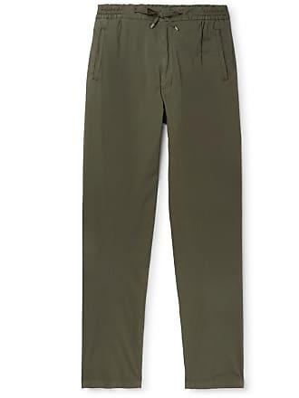 Lardini Pleated Stretch-cotton Drawstring Trousers - Green