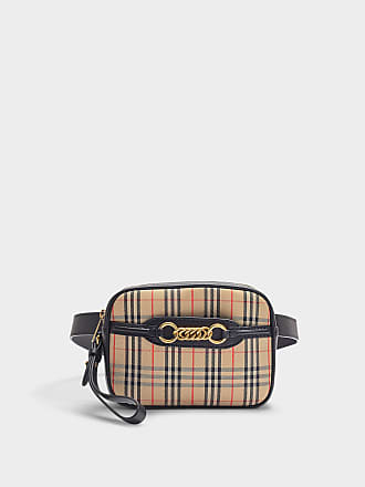 bcdeec741adb Burberry The Link Bum Bag in Vintage Check Cotton and Black Leather