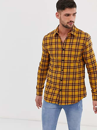 New Look washed check shirt in yellow - Yellow