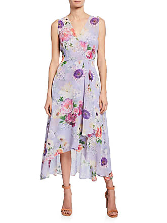 Iconic American Designer Sleeveless Floral-Print High-Low Dress