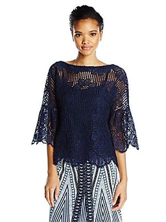 Trina Turk Womens September Bell Sleeve Top, Indigo L