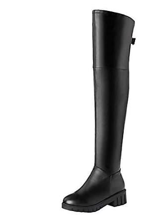 488bf3299293d3 Aiyoumei Damen Overkneestiefel Blockabsatz Overknee Stiefel mit Schnallen  und Plateau Boots Winter Schwarz 37 EU