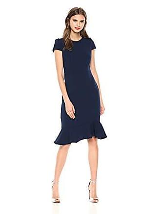 89eca0e6 Betsey Johnson Womens Scuba Crepe Dress with Ruffled Hem, Indigo, 4