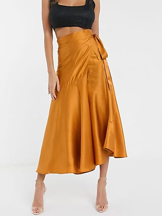 Unique21 Unique 21 ruffle satin wrap skirt in rust-Brown