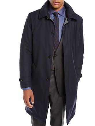 Neiman Marcus Mens Water-Resistant Raincoat in Wool