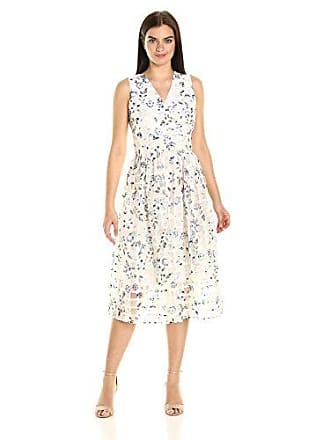 d138aae73061d Ivanka Trump Womens Midi Floral Organza Dress, Ivory/Sea Blue, 10