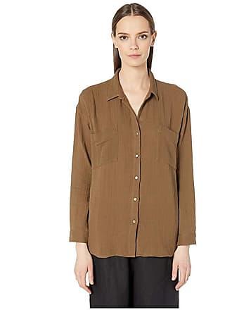 Eileen Fisher Organic Cotton Lofty Gauze Classic Collar Shirt (Pine Needle) Womens Clothing