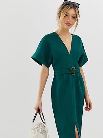 Asos Petite ASOS DESIGN Petite - Midikleid mit Kimono-Ärmeln und Schnalle aus künstlichem Schildpatt-Grün