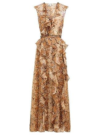 31d5ca4e82e49d Diane Von Fürstenberg Lacey Python Printed Silk Chiffon Wrap Dress - Womens  - Brown Print