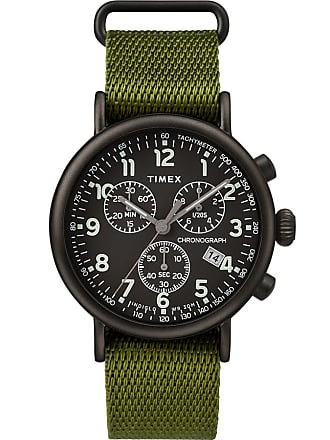 Timex Watch Mens Standard Chronograph 41MM Fabric Strap Black/green/black Item Tw2T21400Vq