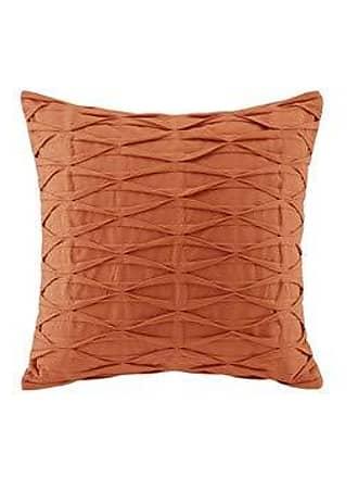 Natori Nara Pintuck Cotton Modern Accent Throw Pillow, Contemporary Fashion Square Decorative Pillow, 18X18, Orange
