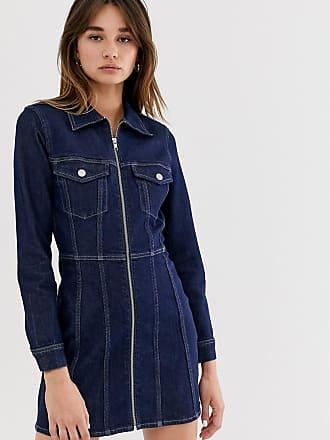 Weekday Vestito di jeans in cotone organico blu profondo con zip-Nero