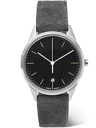 Uniform Wares C36 Stainless Steel And Suede Watch - Gray