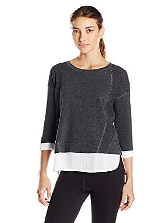 Andrew Marc Womens 3/4 Sleeve 2-Fer W/Lurex Stitching, Charcoal Heather/White, Medium