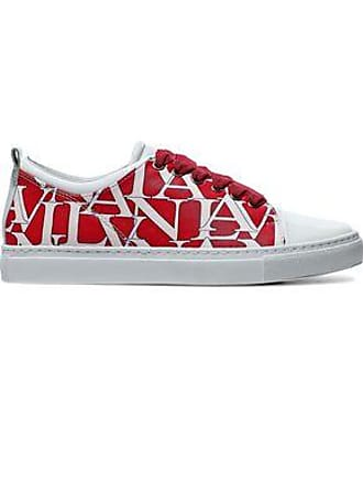 Lanvin Lanvin Woman Printed Matte And Patent-leather Sneakers Tomato Red Size 35