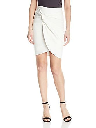 Nicole Miller Womens Solid Cotton Metal Wrap Skirt, White, 0