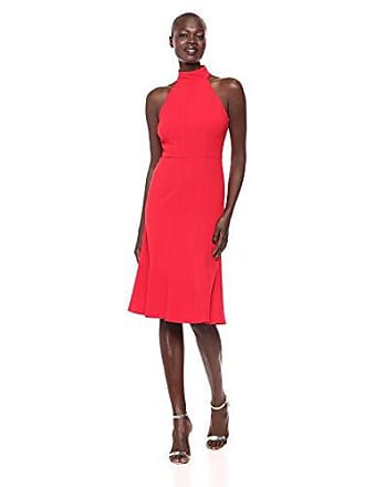 Donna Morgan Womens Midi-Length Halter Dress, red, 12