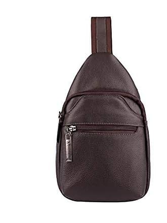 Vira Vento Mini mochila transversal de couro masculina Jeff café