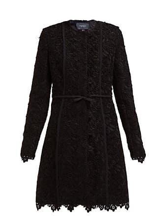 Giambattista Valli Bow Trim Guipure Lace Cotton Blend Coat - Womens - Black