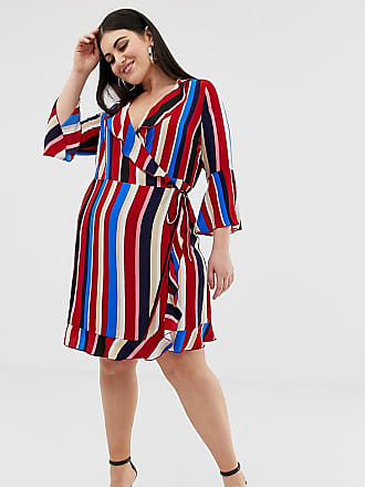 40ffdfda35b Outrageous Fortune Plus ruffle wrap dress with fluted sleeve in stripe