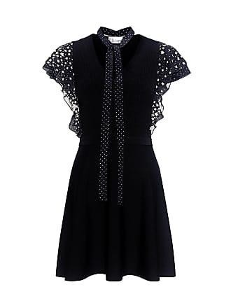 Red Valentino Star Ruffled Sleeve Mini Knit Dress Black
