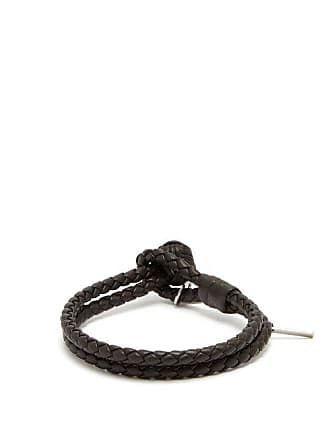 Bottega Veneta Double Wrap Leather Bracelet - Mens - Brown