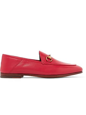 a421356e00c Gucci Brixton Horsebit-detailed Leather Collapsible-heel Loafers - Red