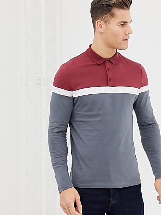 02b54cbd3591 Asos long sleeve polo shirt with contrast body and sleeve panels in gray -  Gray