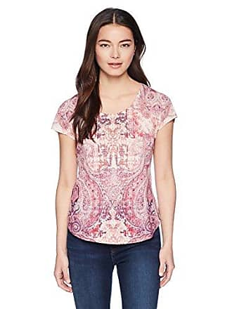 Oneworld Womens Petite Short Sleeve Scoopneck Printed Tee, Fuse Ornaments- Dove, PXL