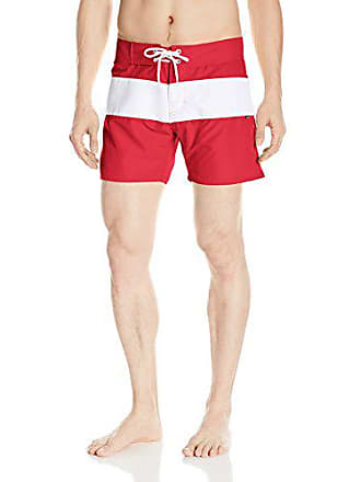 a0cbc889f7 Sauvage Mens Fixed Waist Positano Italian Striped Swim Trunk, Red, 36