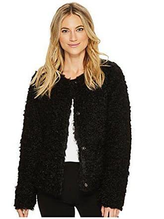Via Spiga Womens Reversible Curly Faux Fur Jacket, Black, X-Large