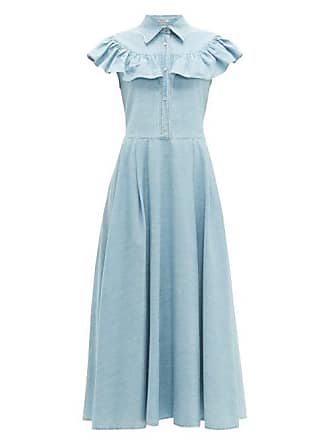 e30eb6a782d62 Miu Miu Ruffled Denim Midi Dress - Womens - Light Blue