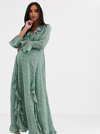 Asos Maternity ASOS DESIGN Maternity wrap maxi dress with frills in self stripe-Green