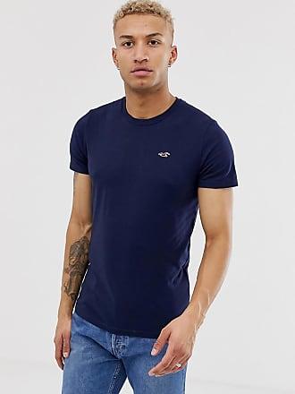 Hollister Marineblaues T-Shirt mit Rundhalsausschnitt und Möwenlogo-Navy