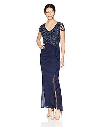 Alex Evenings Womens Empire Waist and Lace Ruched Dress (Petite and Regular), Navy Ruffle Skirt 14