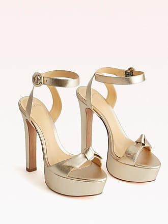 Alexandre Birman Clarita Plateau Sandal - 35.5 Golden Metallic Leather