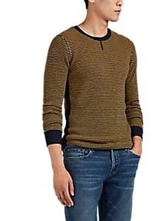 e700480d7b9804 Ovadia & Sons Mens Striped Waffle-Knit Wool Sweater - Navy Size XL